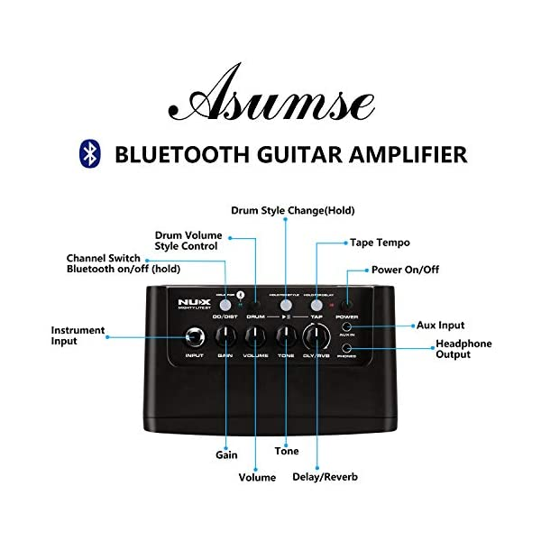 Asmuse NUX Amplificatori Portatili per Chitarra Basso Elettrica Mini Amplificatore Bluetooth di Effetti Gain/Delay/Reverb Drum Machine 3.5mm e input Phone e un APP 10W