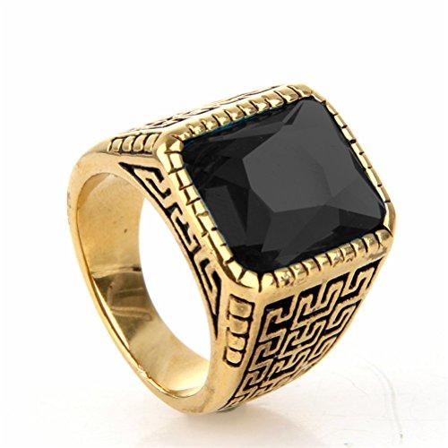 OAKKY Herren Edelstahl Uralt Große Mauer Muster Mehrfarben Platz Edelstein Ring Gold Schwarz Größe 60 (Blume Ringe Modeschmuck Große)