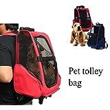 Bargain World Mascota del gato del perro portador mochila con ruedas carro mochila de viaje para perros y gatos bolsa de equipaje portátil