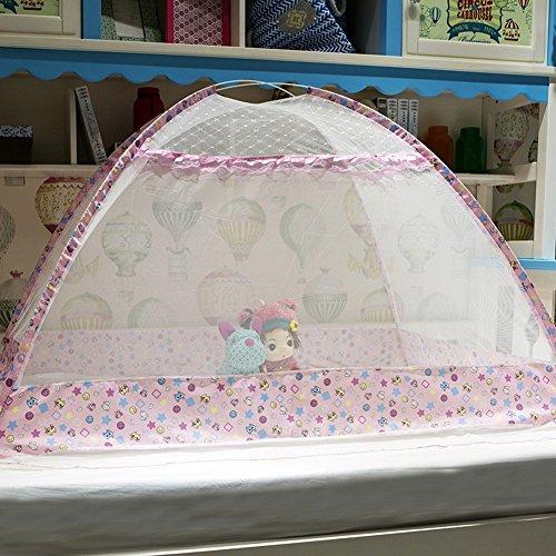 Mosquito Net Baby Travel Cama Cuna Pop Up Tent Accesorios de cama infantil portátil y plegable, Transpirable Travel Kids Tienda de campaña, Beach Tent, Instalación libre, Dense Mesh, NUEVO, Rosa, 80 * 110