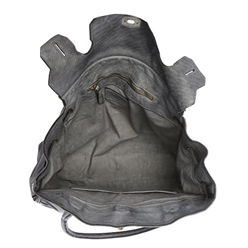Chicca Borse Vintage Line - Damenhandtasche aus echtem Leder, verwebt Made in Italy - 39x33x15 Cm Grau