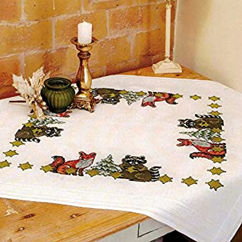 Stickpackung EULEN IM WALD Kreuzstich vorgezeichnet Baumwolle 80x80 cm Stickset