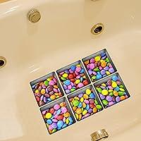 Weare Home Bonbons verschiedene Farbe Muster Serie von 6 Stück Deko Design Kreativ Anti Rutsch Sticker für Sicherheit Kinder für Badewanne, je Stück 14.5×14.5cm