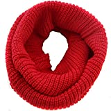 Butterme Damen dicke Strick Winter Warm Kaschmir Infinity Schal Weicher Unifarben Loop Schal Gestricktes Schlauchschal (Rot)