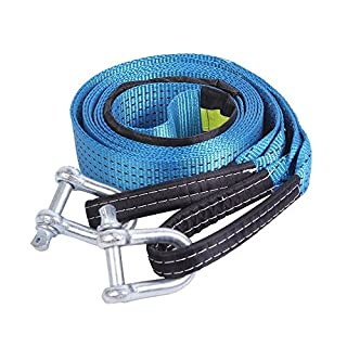 AIJIWU Tow Rope, Car Heavy Duty Recovery Tow Straps 17600Ib 8 Ton 5M With 2 hooks 2 Anti-Proof Gloves