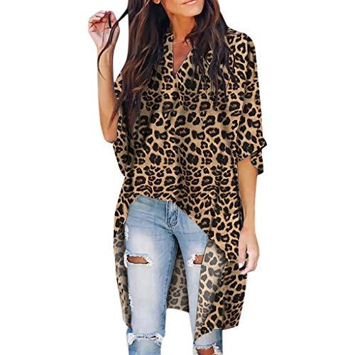 JURTEE Sommer Damen Bluse,Frauen V Ausschnitt Irregular Saum Kurzarm T Shirt Leopard Druck Top Blusen Oberteile(X-Large,Braun)