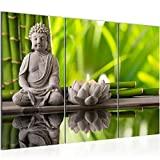 Bilder Feng-Shui Wandbild 120 x 80 cm - 3 Teilig Vlies - Leinwand Bild XXL Format Wandbilder Wohnzimmer Wohnung Deko Kunstdrucke Grün -100% MADE IN GERMANY - Fertig zum Aufhängen 010131a
