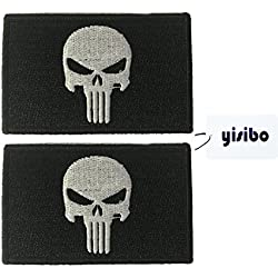 Yisibo Tactical Patches 2 piezas bordado Morales militares parche acerca de SERVICIO PERRO Red Cross Punisher (Punisher-Negro)