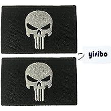 Yisibo Tactical Patches 2 piezas Velcro bordado Morales militares parche acerca de SERVICIO PERRO Red Cross Punisher (Punisher-Negro)