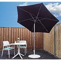 Parasol Sombrilla Jardin / Terraza / Patio | Negro | Ø 270 cm | Redondo | SORARA - INTI | Poliéster de 180 g/m² (UV 50+) | Mecanismo De Péndulo Y Manivela (excl. Base)