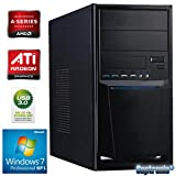 Captronic® (A4-6300-8GB-HD8370D-1TB-Win7Pro) Windows 7 Professional 64bit | DualCore Silent PC Front USB 3.0 AMD A4-6300 2x 3,70GHz (Turbo bis 3900MHz) | KINGSTON 8GB DDR3-1600 | 24x DVD-Brenner | 1000GB HDD SATA3 | ATI Radeon HD 8370 2GB HDMI/DVI/VGA | CardReader | 7.1 Sound | GigabitLAN | Design Gehäuse Schwarz