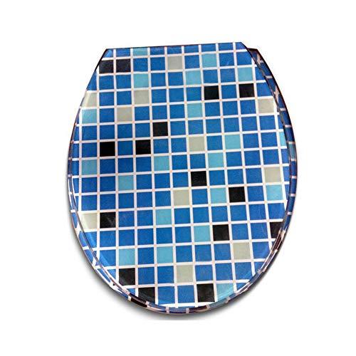 JKYQ Blaues Mosaik Haushalt Cooles Badezimmer Harz WC Deckel transparent Verdickung Dämpfung Puffer WC Abdeckung UVO Typ Durable Hotel - Hotel Wc Papierhalter