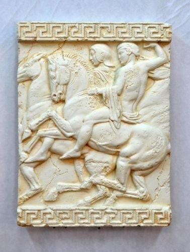 Pared de imagen 3d Relief de meandro patrón Diseño antiguo Jinete Lucha...