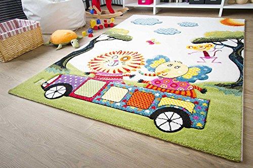 Kinder Teppich Modena Kids Tiere on Tour - Bunt Öko-Tex zertifizierter Kinderteppich, Größe 100x160 cm
