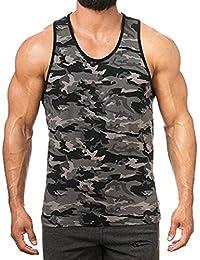 Rera Homme Débardeur de Sudation Imprimé Camouflage Gilet Sport Musculation Maillot de Corps Slim Fit T-Shirt Elastique sous-Vêtements sans Manches Col Rond