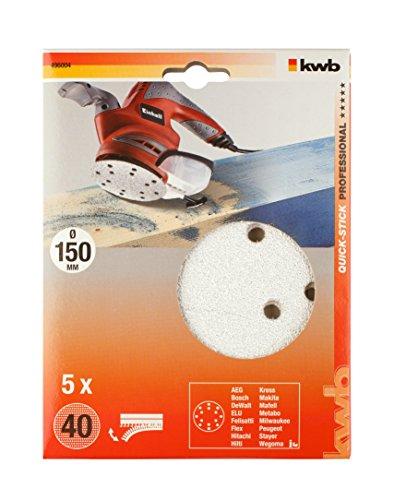 KWB Quick-Stick Schleifscheiben, Holz und Lack, selbsthaftend, Durchmesser 150 mm, 4960-04