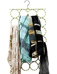 Perfect Life Ideas 28 Rings Metal Folding Rope Tie, Shawls, Belts, Scarf Hangers And Organisers - 1 Pc (Assorted...