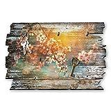 Kreative Feder Blüte Designer Schlüsselbrett, Hakenleiste Landhaus Style, Shabby aus Holz 30x20cm, HSB006