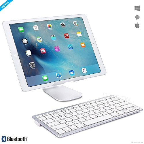 ZAAP® (USA) ULTRA SLIM Bluetooth Universal Keyboard for iPad Air 2 / Air, iPad Pro, iPad mini 4 / 3 / 2 / 1, iPad 4 / 3 / 2,iPhone 6, Apple iPhone 7, Samsung Galaxy Tabs and Other Mobile Devices (White)