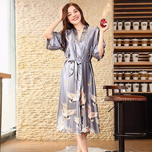 HeiPlaine HeiPlaine Süße Nachtwäsche Simulation Silk sexy Pyjamas Frauen sommerhülse seidengewand Hause Service (Farbe: Grau, Größe: XXXL) Sexy Nachthemd (Farbe : Grey, Größe : Medium)