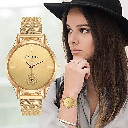 Souarts Damen Armbanduhr Einfach Mesh Metallarmband Casual Analoge Quarz Uhr (Gold)