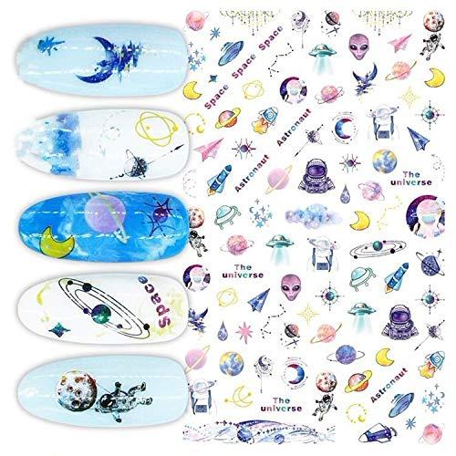 Applique Kunst (1 Blatt, Raum, Sterne, Aliens, Astronauten, Erde, Galaxie, Zeichen, 3d Nagel Kunst Selbstklebende Abziehbilder Aufkleber-Applique-Set)