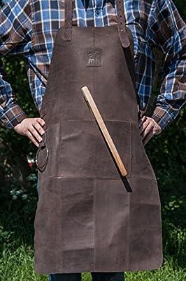 Premium Michael Heinen Grillschürze | Leder | Kochschürze | Kellnerschürze | Büffelwidlleder | Barbequeschürze | Hitze-, Fett- und Funkenflugschutz | Grillschutz