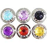 6 Handtaschenhalter Aufhänger mit Gliederhalterung ausklappbar und funkelnden farbigen Kristall Schmucksteinen von Kurtzy TM