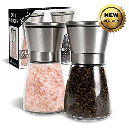 Salz und Pfeffermühle, Allezola Salz- Pfeffermühlen Set mit verstellbarem Keramik Mahlwerk Edelstahl Gewürzmühle - 2 Stück Test