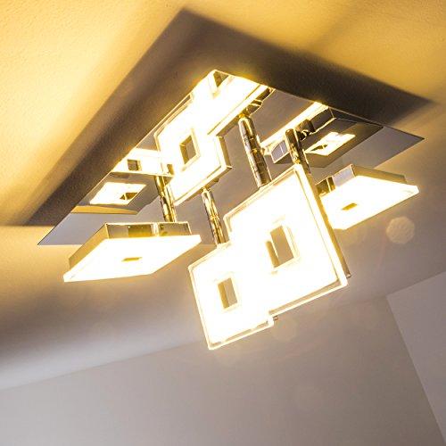 LED Deckenspot Viereck aus glänzendem Chrom - Deckenstrahler 4-flammig mit verstellbaren Leuchtenköpfen - Moderne Wohnzimmerlampe, Deckenlampe für die Küche und Flur Deckenleuchte