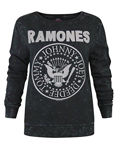 Amplificata Ramones Seal Logo Maglione da donna Macrame Charcoal Small