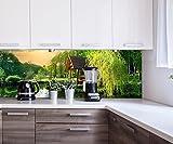wandmotiv24 Küchenrückwand Gartenlaube an Kleinem See Nischenrückwand Spritzschutz Design M0694 180 x 60cm (B x H) - Aluminium 3mm