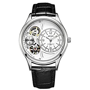 HRTJJT Men Mechanical Watches Japan Automatic Movement Leather Strap Hollow Carved Dial Clock,One