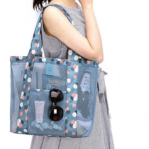 VORCOOL Frauen-Süßigkeit-Blumen-Klare Transparente Handtaschen-Schulter-Gemüse-Taschen-Strand-im Freienreise-Aufbewahrungstasche (Himmel-Blau)
