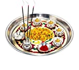 #8: Meenakari attactive Pooja aarti thali, shagun, Panch deep thali for Every Occasion, Festival,Home Temple, Wedding Return Gift - Print May Very
