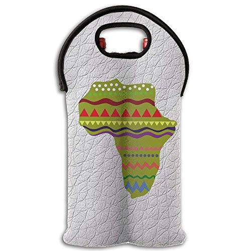 Wine Tote Carrier Bag Green Africa Zone Purse For Champagne,Water Bottles Design5