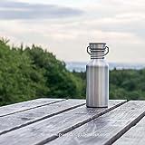 Trinkflasche, 0.5L Edelstahl / Wasserflasche mit Bambus Deckel, Eco Friendly von Pure Design - 6