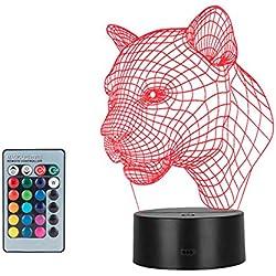 Linkax 3D LED Luz de Noche Ilusión óptica Lámpara de Mesa Luz iluminación 7 Colores de Control Remoto con Acrílico Plano & ABS Base & Cargador USB (Cabeza de leopardo)