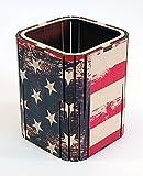 Di forma quadrata penna matita Holder Organizer da scrivania ufficio/COLORED Betulla, motivo: bandiera americana