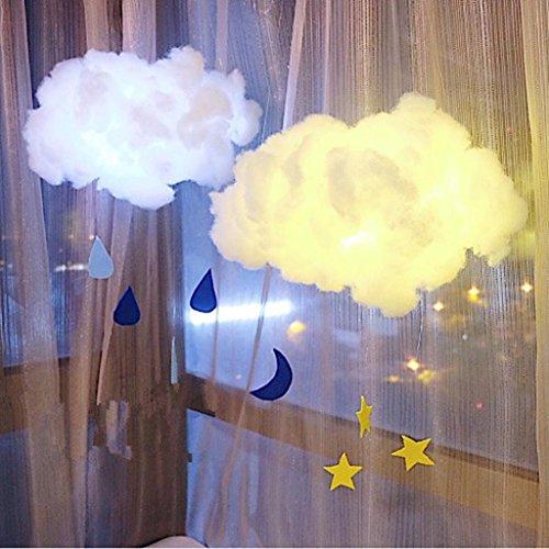 HKFV DIY Handgemachte Kinder Nette Baumwolle Wolke Form Lampe Zimmer Licht Wohnkultur Nachtlicht Baumwollwolkenlicht DIY Material Paket Wolken Lichter