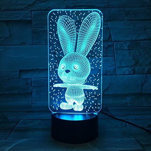 Nettes Häschen-Baby-Schlafzimmer-Lampen-Nachtlicht-Karikatur-Plastikschlafen führte Lampen-Birnen-Nachtlicht der Kind-3d mit 7 Farbänderung