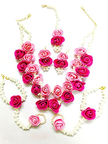 Floret Jewellery Beautiful Pearl Designer Pink Flower Jewellery Set With 6 Items For Women & Girls (Mehandi/Haldi/Wedding/Bridal)
