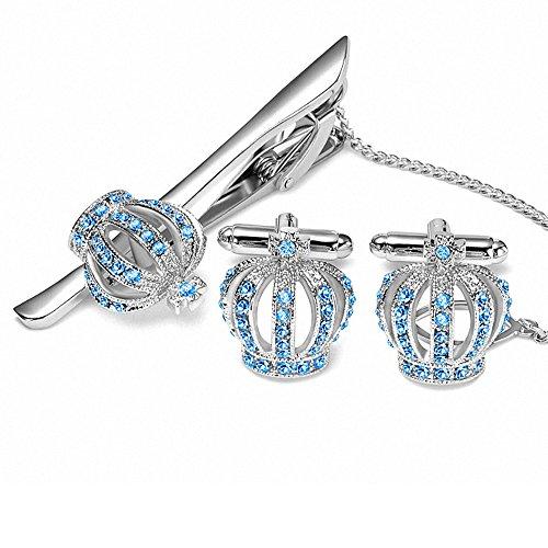 Crown Tie Clip Manschettenknopf Set - BagTu Crystal Embedded Blau für Männer Hochzeit