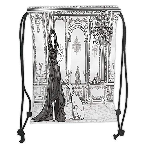 Fashion Printed Drawstring Backpacks Bags,Teen Room Decor,Sexy Fashion Woman in Victorian Palace with Dog Baroque Illustration,Dark Grey White Soft Satin,5 Liter Capacity,Adjustable String Closure -