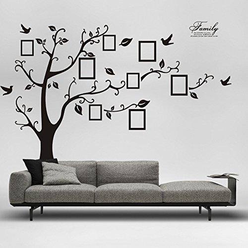 Haus Galerie (OYOTRIC Großer Stammbaum Wandabziehbild.Einfach zu Installieren, Anwenden Geschichte Dekor Wandmalerei für Haus, Schlafzimmer Schablone Dekoration. DIY Foto-Galerie-Rahmen-Dekor-Aufkleber)