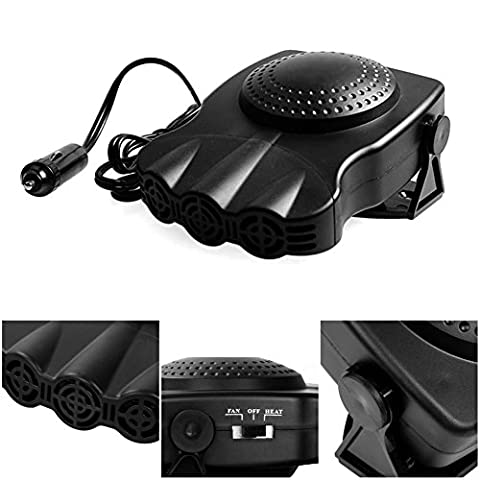 Car Heater Portable 30 Seconds Fast Heating Quickly Defrosts Defogger 12V 150W Auto Ceramic Heater Cooling Fan 3-Outlet Plug In Cig Lighter