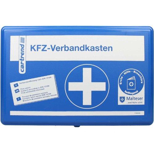 erste hilfe auto set Cartrend 7700126 Verbandkasten Classic mit Malteser Erste-Hilfe-Sofortmaßnahmen, DIN 13164, Blau