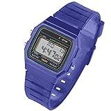 Taffstyle Damen Herren Sportuhr Silikon Armbanduhr 80er Jahre mit Alarm Datum Kalender Viereckig Vintage Retro Digital Uhr Dunkelblau