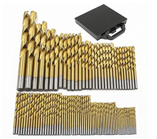 Nuzamas 99pièces High Speed Revêtement titane Ensemble de forets hélicoïdaux avec housse de transport Boîte Tailles 1,5mm–10mm