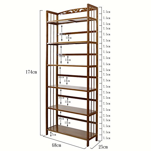 Shelf Zr- Einfache Bücherregal 6-Tier-Massivholz-Studie Office Storage Bücherregal Multilayer Regale Brown - Wanddekoration (Größe : 68*25*174cm) (6-tier-bücherregal)